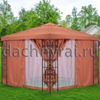 Беседка Кирпичная 3х3 м плотные шторы и москитная сетка