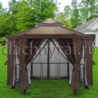 Беседка шатер Нью-Йорк Д 3,5м с барным столом коричневая