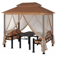 Беседка Уютная с обеденным столом, лавочками, подушками 257х177х243 см