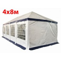Шатер павильон 4x8 м бело синий ПВХ скатная крыша