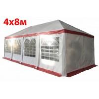 Шатер павильон 4x8 м бело красный ПВХ скатная крыша