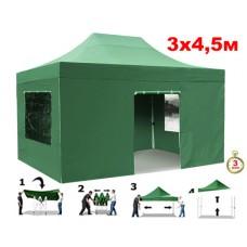 Быстросборный шатер автомат 4336 Helex, 3х4,5м, зеленый