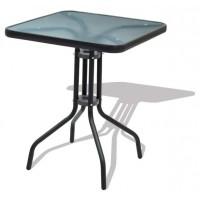 Стол стальной квадратный со стеклянной столешницей графитовый