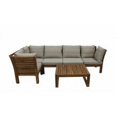 Комплект обеденной садовой деревянной мебели ALPINIA с подушками (стол и угловой диван), акация