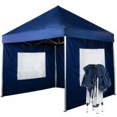 Быстросборный шатер автомат Люкс 3х3 синий с 3 стенками