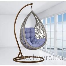 Плетеное подвесное кресло Капля (N886-W72) 128х89х76 см серое