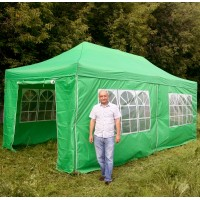 Шатер гармошка Классик 3х6м, зеленый, 4 стенки
