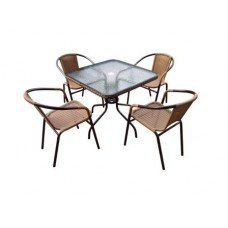Комплект мебели Николь-2A TLH-037A/073A-80х80 Cappuccino (4+1)