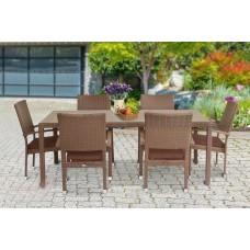 Набор мебели искусственный ротанг Браун стол + 6 кресел