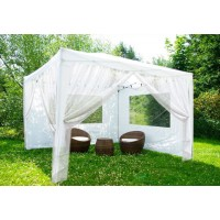 Быстросборный шатер автомат Люкс 3х3 белый,  2 с окном 2 москитные