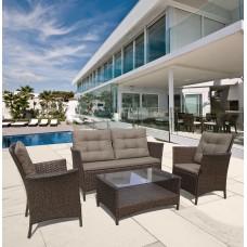 Плетеный комплект для отдыха с диваном AFM-804 Brown