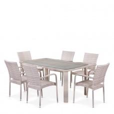 Комплект плетеной мебели T51A/Y376-W85-150x85 6Pcs Latte