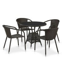 Комплект плетеной мебели T707ANS/Y137C-W53 4Pcs Brown