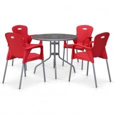 Комплект мебели для кафе TD90/XRF065BR-Red (4+1)