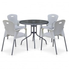 Комплект мебели для кафе TD90/XRF065BW-White (4+1)
