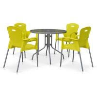 Комплект мебели для кафе TD90/XRF065BY-Yellow (4+1)