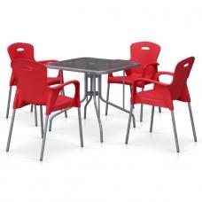 Комплект мебели для кафе TL80x80/XRF065BR-Red (4+1)