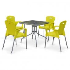 Комплект мебели для кафе TL80x80/XRF065BY-Yellow (4+1)