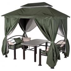 """Беседка """"Уютная"""" зеленая с обеденным столом, лавочками, подушками"""