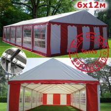 Шатер павильон Giza Garden 6x12м красный белый PRO
