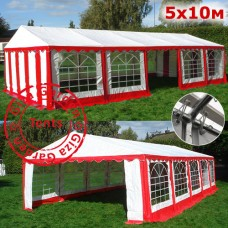 Шатер павильон Giza Garden 5х10м бело-красный
