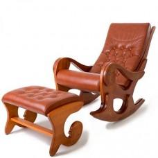 Кресло-качалка Грация с банкеткой (с росписью), натуральная кожа