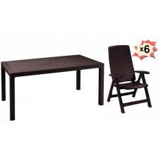 Обеденная группа стол Melody и 6 стульев Monreal