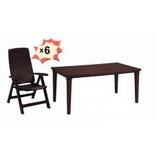 Обеденная группа стол Futura и 6 стульев Montreal