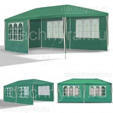 Садовый шатер 3х6м со стенками, полностью зеленый