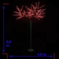 LED-«Японская ива» пушистая, красная, высота 2,5 м