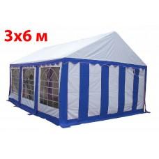 Шатер тент 3x6 м бело синий ПВХ
