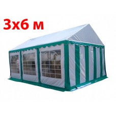 Шатер тент 3x6 м бело зеленый ПВХ