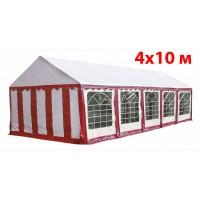 Шатер павильон 4x10 м бело красный ПВХ