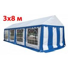 Шатер павильон 3x8 м бело синий ПВХ