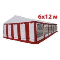 Шатер павильон 6x12 м бело красный ПВХ