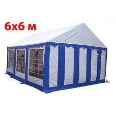 Шатер павильон 6x6 м бело синий