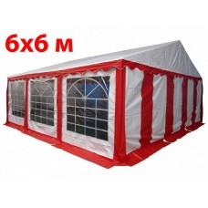 Шатер павильон 6x6 м бело красный