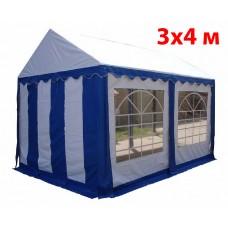 Шатер тент 3x4 м бело синий ПВХ