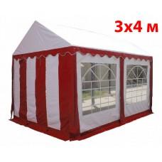 Шатер тент 3x4 м бело красный ПВХ