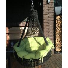 Подвесное кресло качели CARTAGENA черный с зел. подушками + балдахин