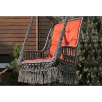Подвесное кресло качели ИНКА с оранжевой подушкой + балдахин