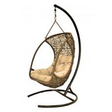 Каркас стойка для подвесного кресла, оплетка ротангом, коричневый