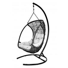 Подвесное кресло Albatros black (стойка оплетена ротангом)