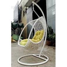 Подвесное кресло Albatros White (стойка оплетена ротангом)