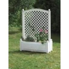 Большой ящик для растений с центральной шпалерой 100см, белый