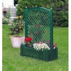 Большой ящик для растений с центральной шпалерой 100см, зеленый