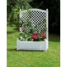 Большой ящик для растений с шпалерой 100 см, белый