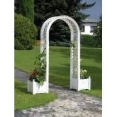 Садовая арка с ящиком для растений, белая