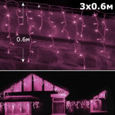 Светодиодная бахрома 3х0,6м розовый