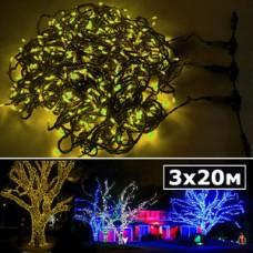 LED нить 5 нитей по 20м с контроллером желтый